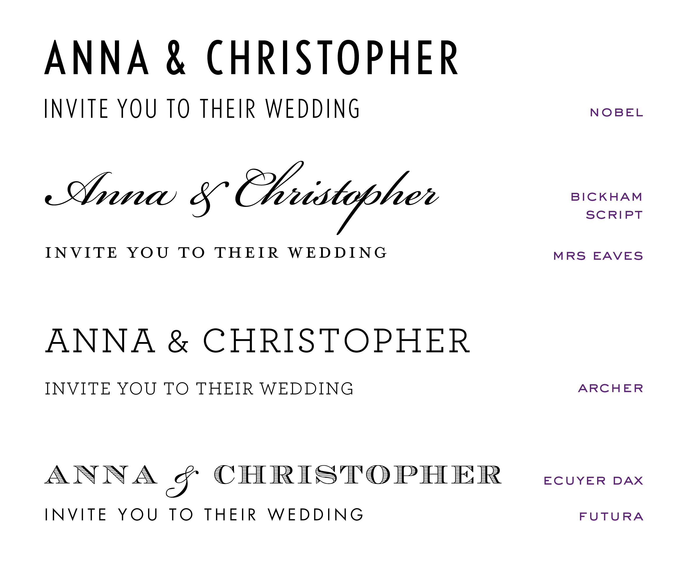 Wedding Invites - nobel font