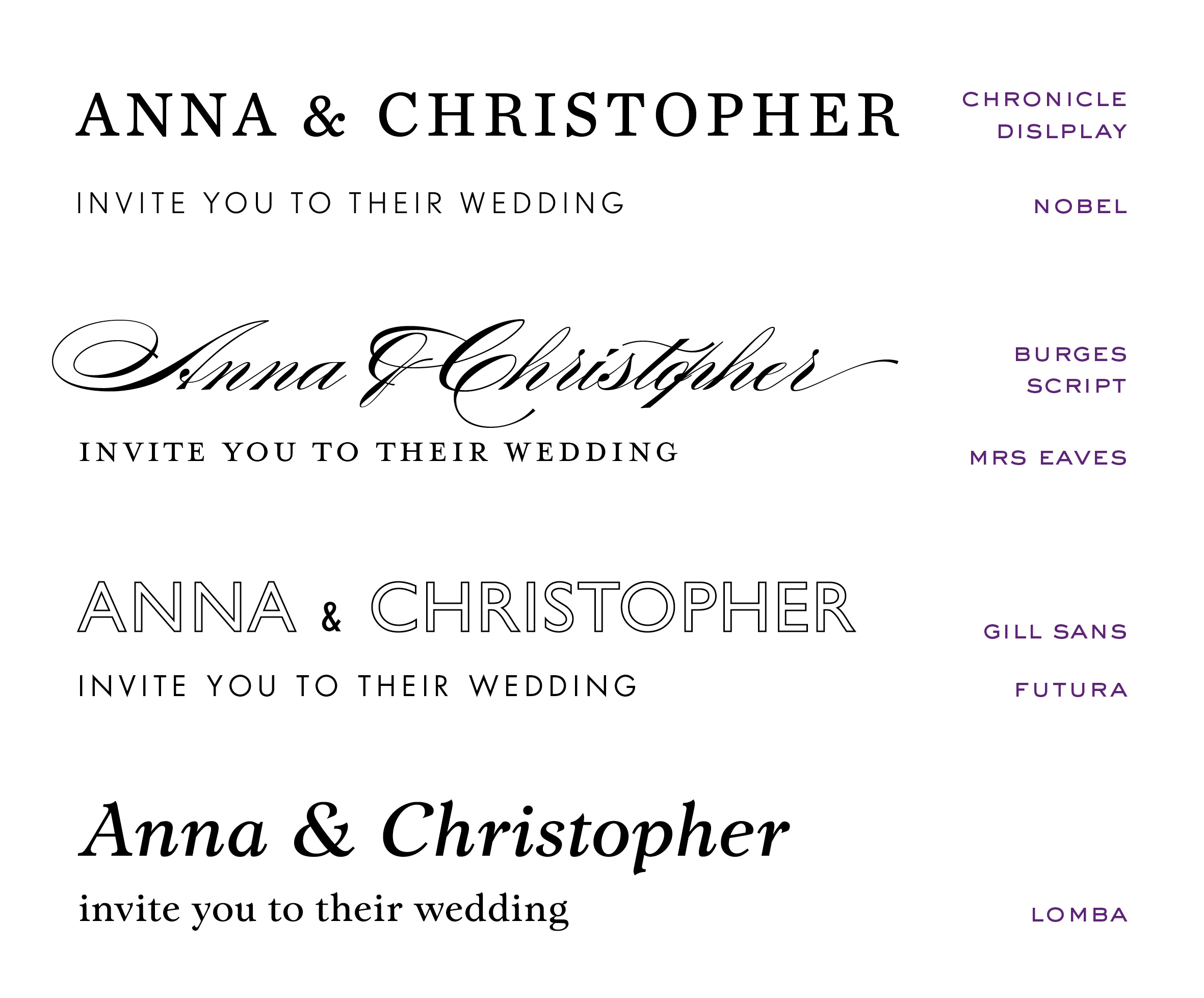 Wedding Invites - display font