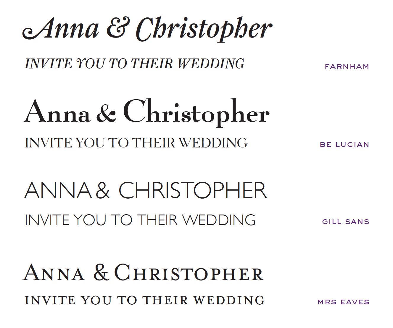 Wedding Invites - farnham font