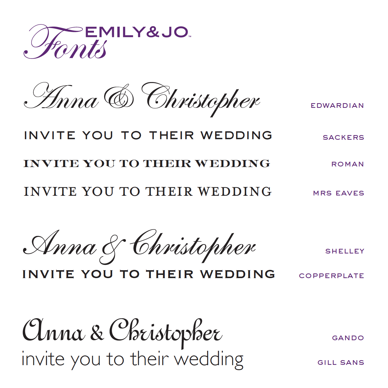 Wedding Invites - sackers font