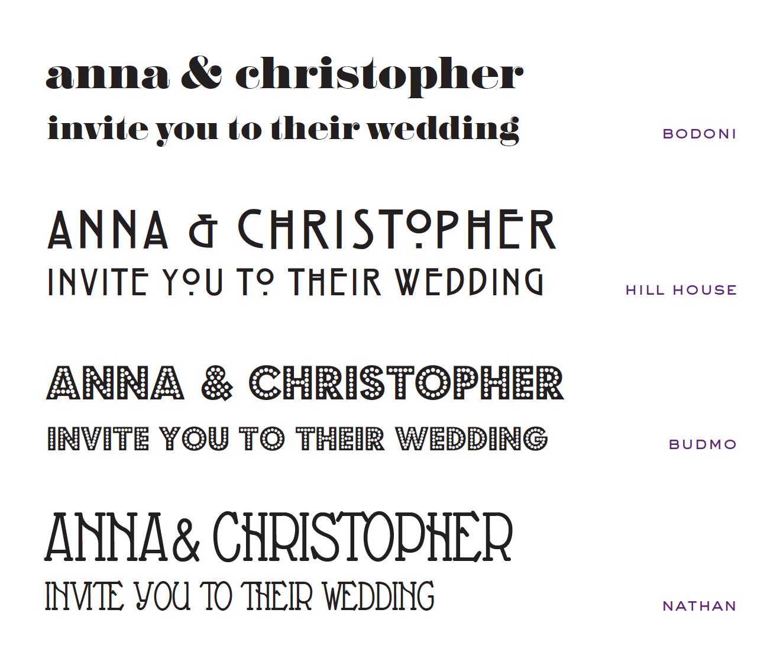 Wedding Invites - bodoni font