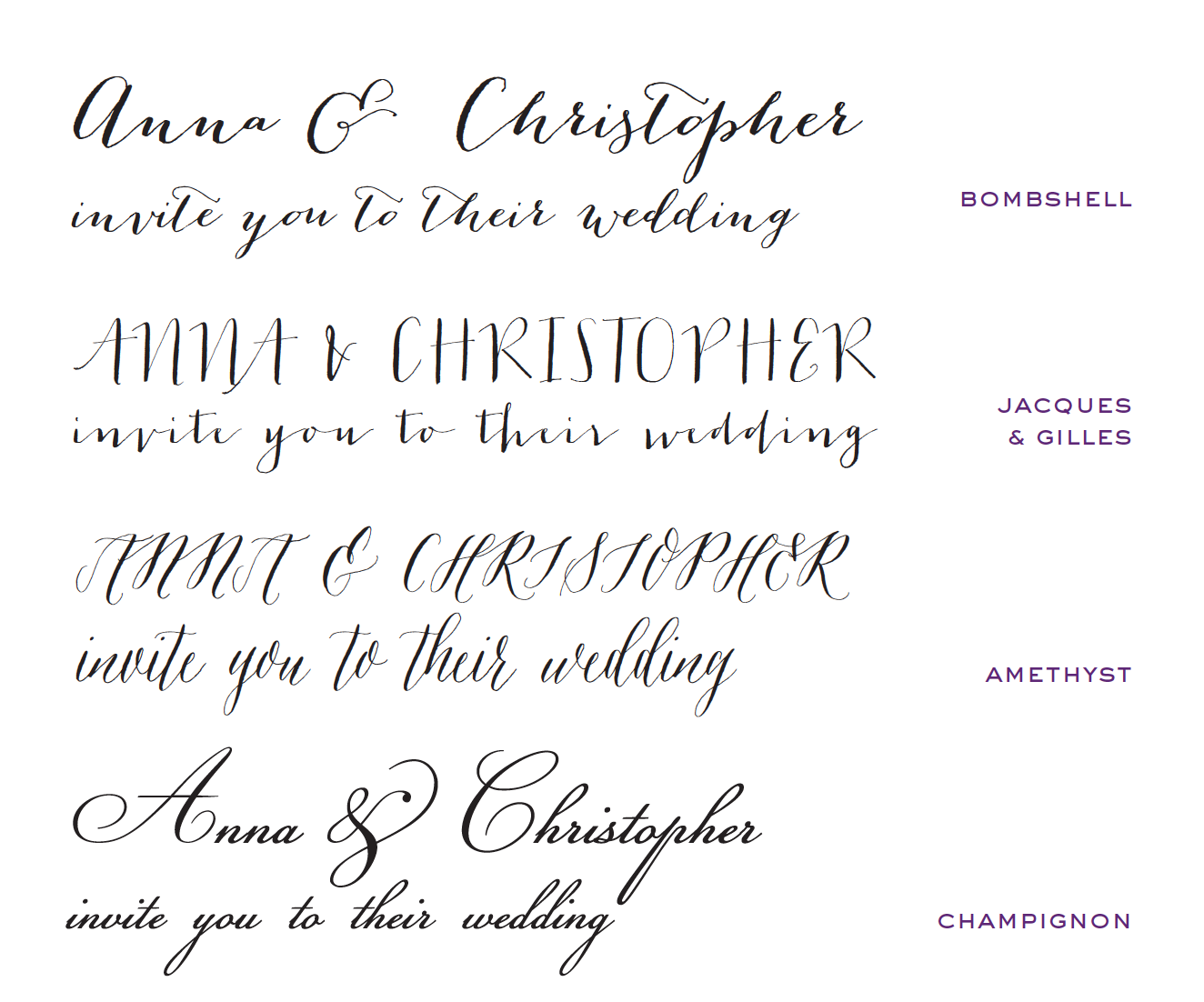 wedding invites bombshell font - Wedding Invitation Fonts