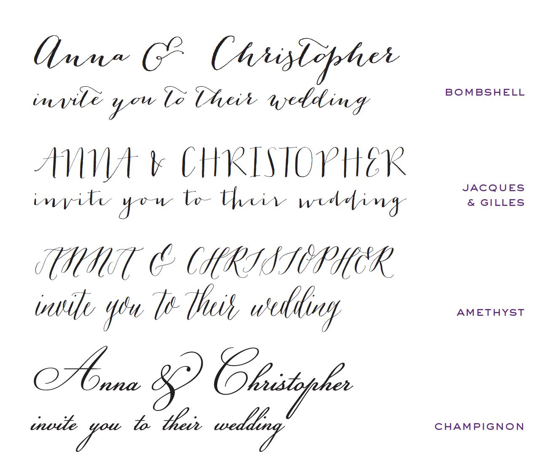 Wedding Invites - bombshell font