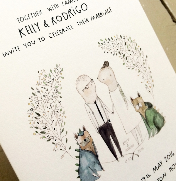Bespoke Wedding Stationery - colourful illustrated wedding invitation