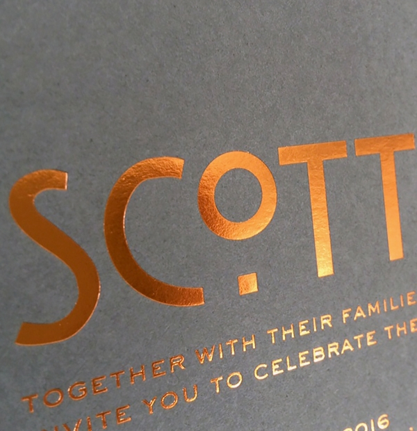 Wedding Invites - foil pressed font