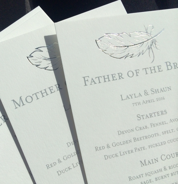 Addition on the day wedding stationery - menus