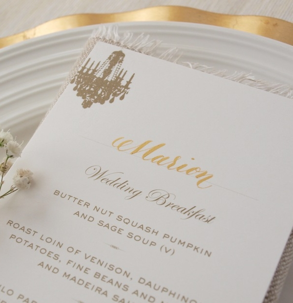 Wedding Invitations with calligraphy - the wedding breakfast