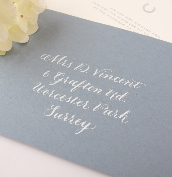 Wedding invitations with calligraphy the envelopes