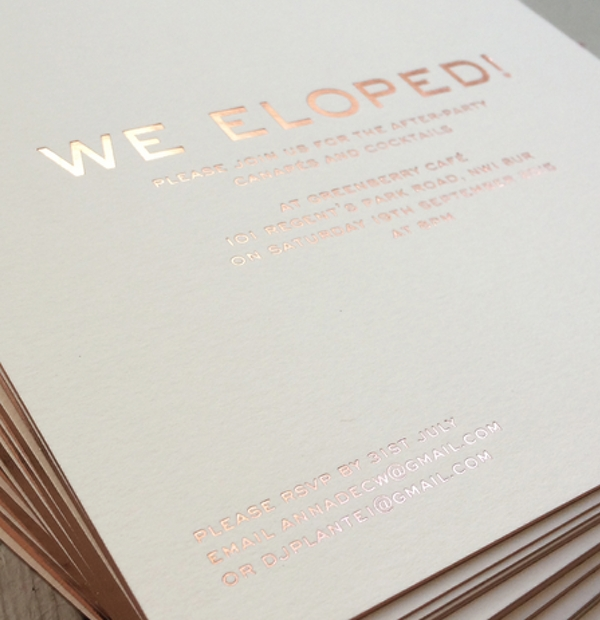 Wedding Invitations - foil blocked