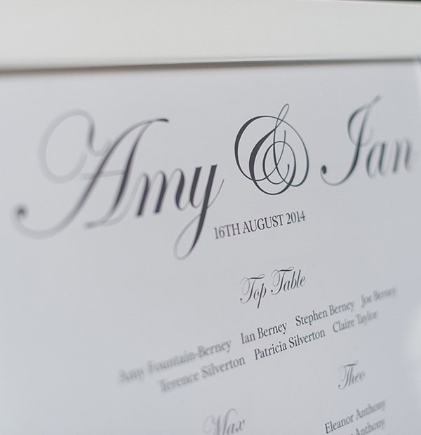 Additional on the day wedding stationery - table plans