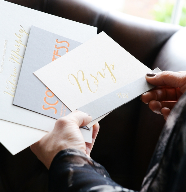 Wedding RSVP cards at Emily & Jo