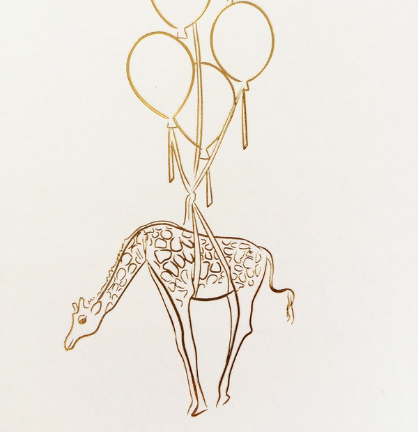 Commissioned Illustration - gold giraffe